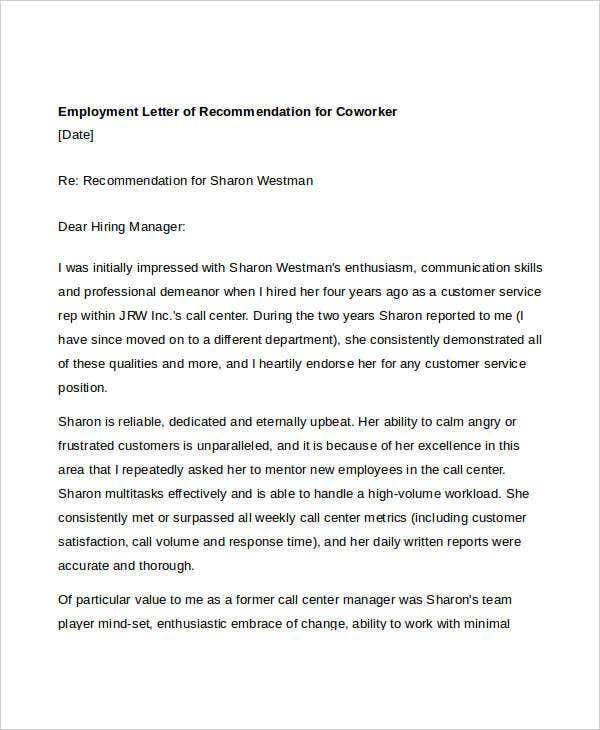 Coworker Recommendation Letter- 10+ Free Word, Pdf Documents