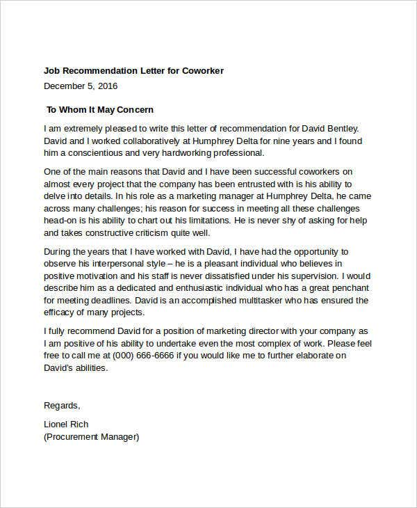Coworker Recommendation Letter  Free Word Pdf Documents