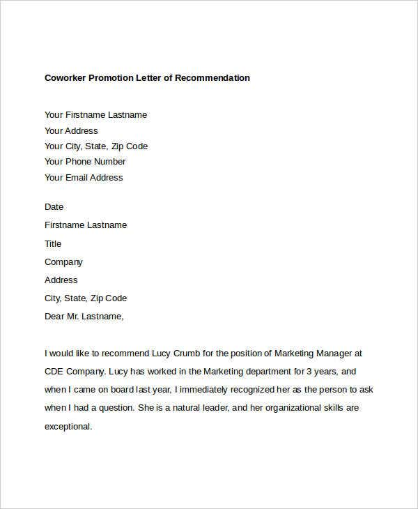 Letter Of Recommendation For Colleague from images.template.net