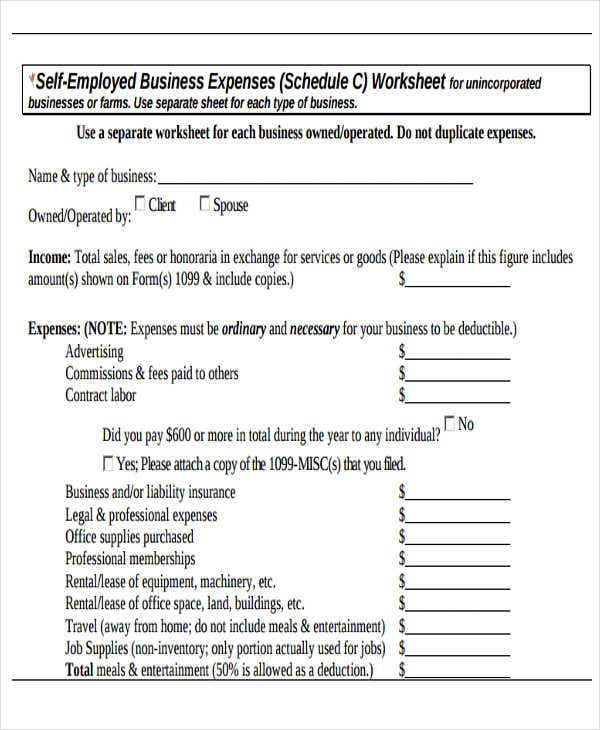 business expense report form