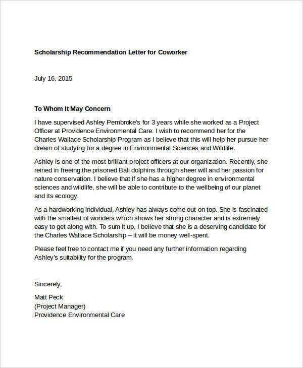 scholarship recommendation letter for coworker coverlettersandresumecom