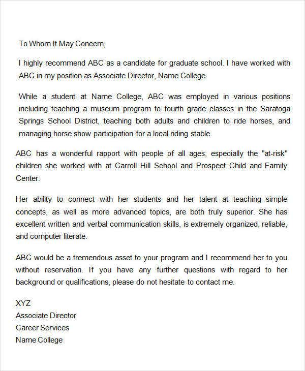 graduate school letter of recommendation from coworker