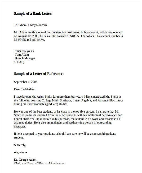 Bank Employee Recommendation Letter