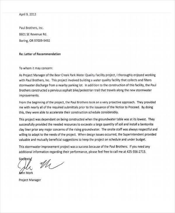 construction employee recommendation letter
