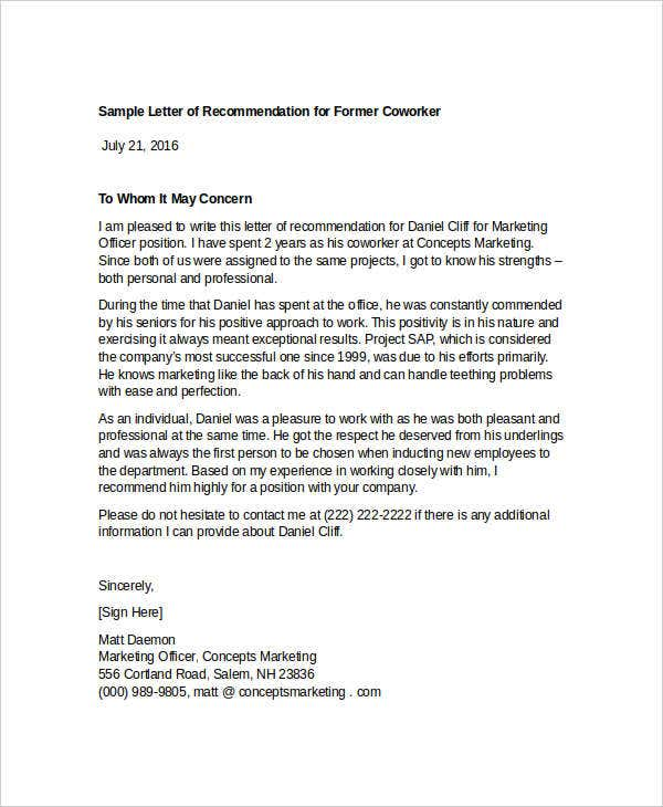 Letter of recommendation for coworker examples juve letter of recommendation for coworker examples altavistaventures Choice Image