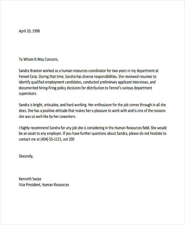 10 Employee Recommendation Letter Template 10 Free Word PDF Format Download Free