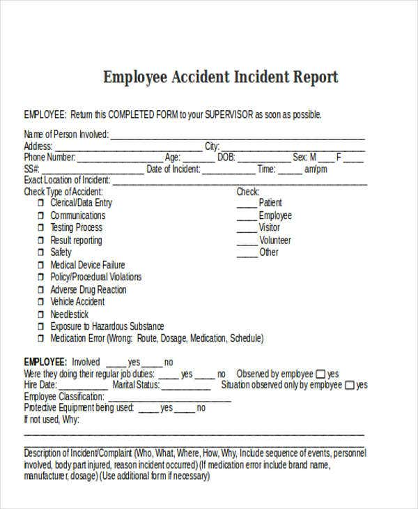employee accident incident report