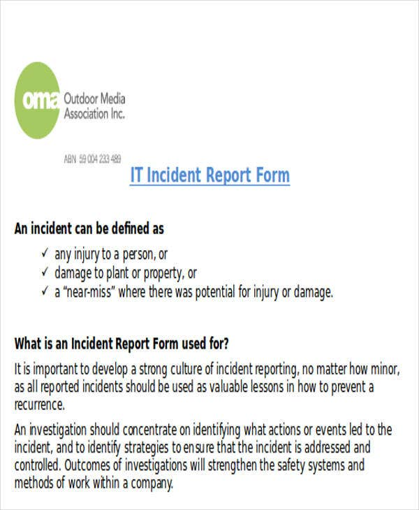 it incident report sample