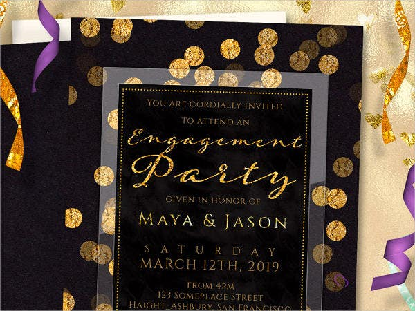 gold glitter engagement ceremony invitation