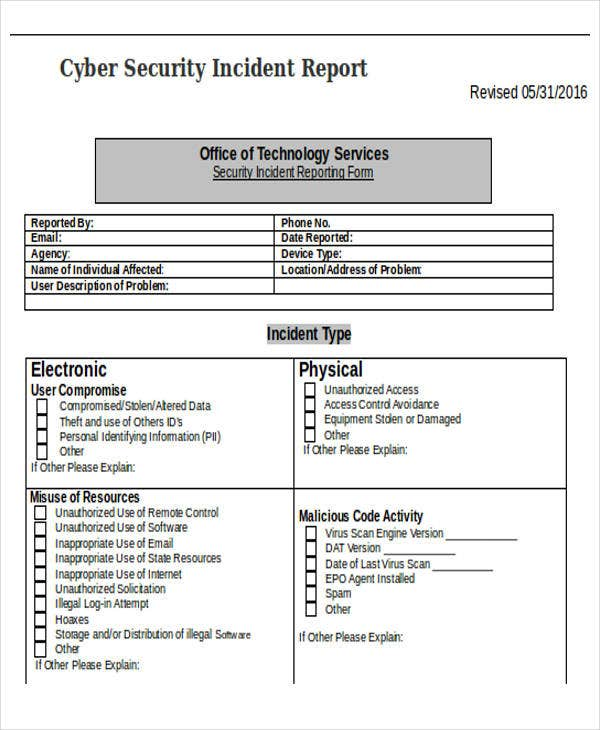 cyber security incident report