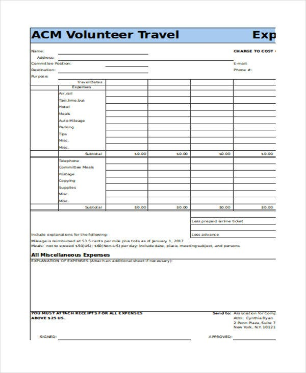 Volunteer Travel Expense Report In Excel  Free Expense Reports