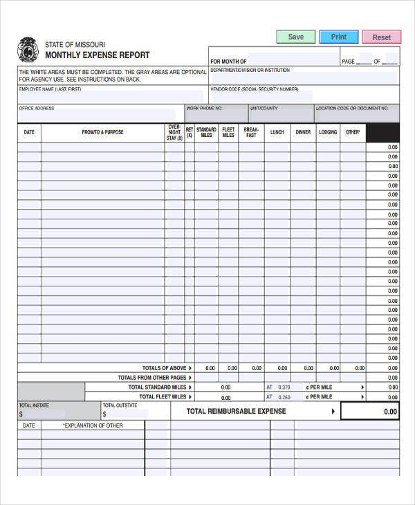 30 Free Expense Report Templates – Personal Monthly Expense Report Template