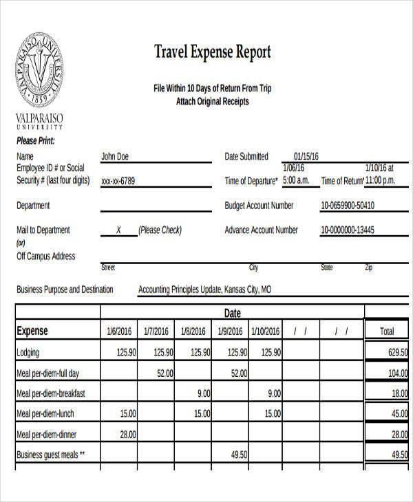 Sample Of Expense Report Sample Small Business Expense Report