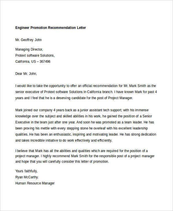 engineer promotion recommendation letter