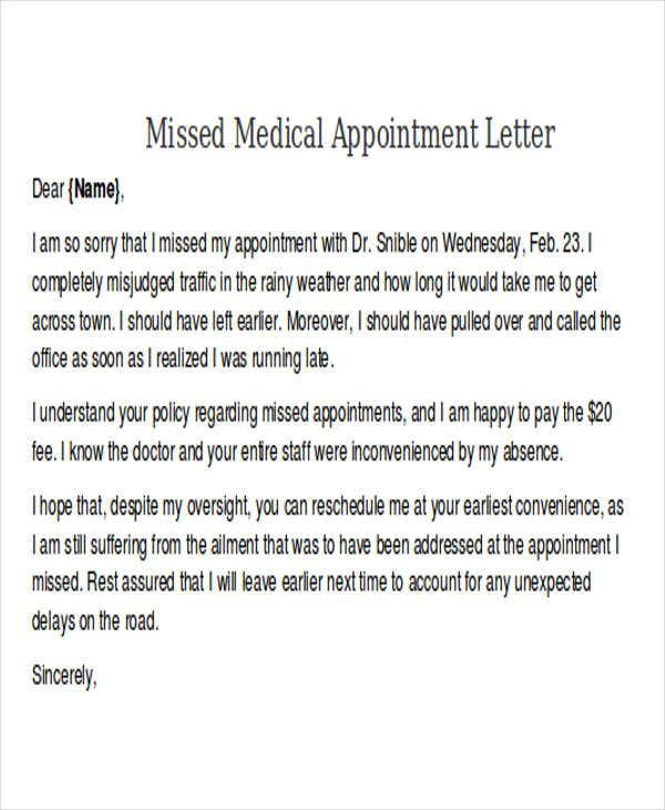 missed medical appointment letter