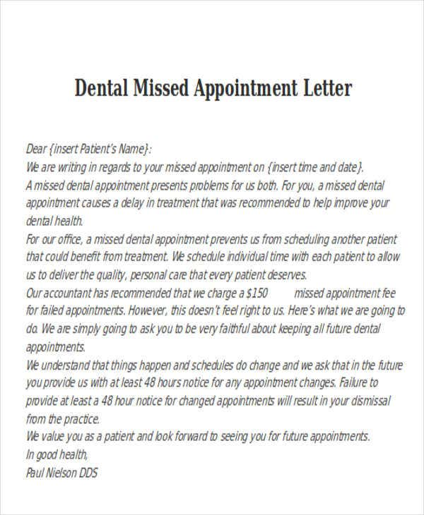 dental missed appointment letter