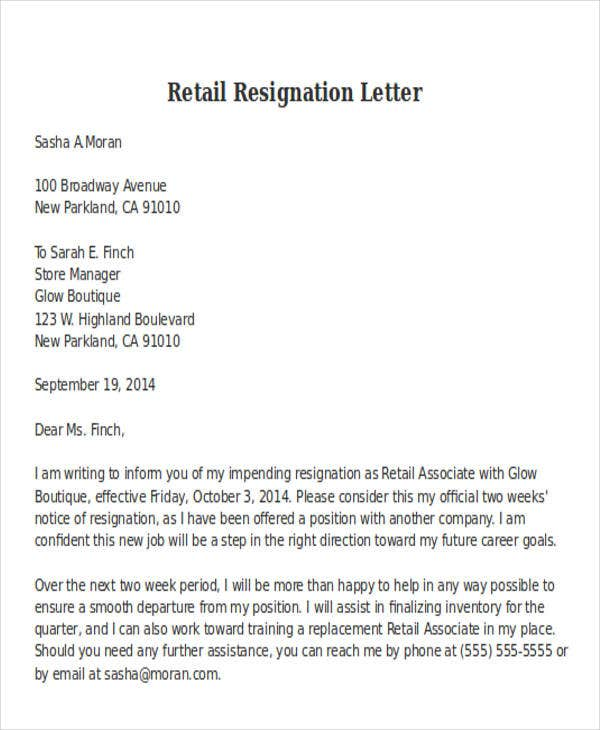 Retail Associate Resignation Nice Ideas