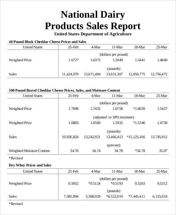 national dairy products sales report