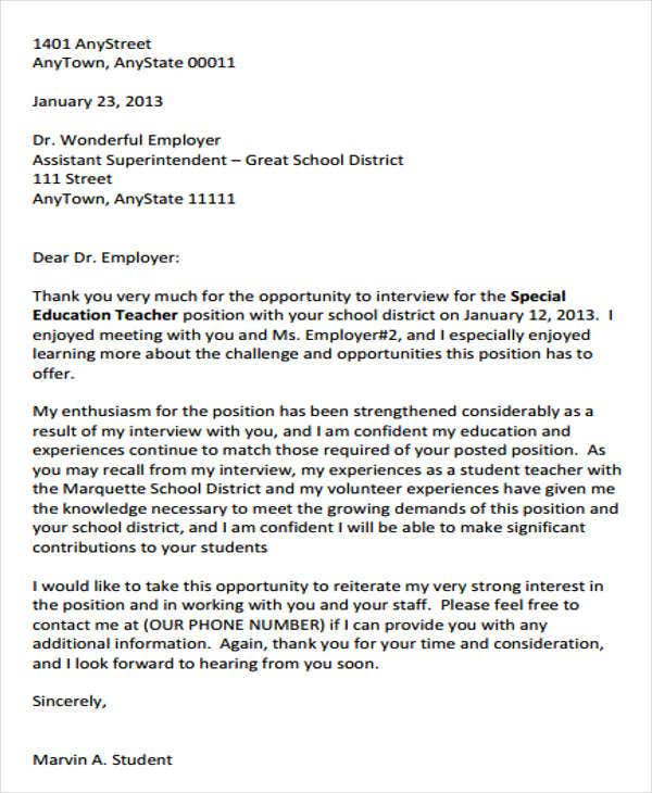 teacher interview thank you letter1