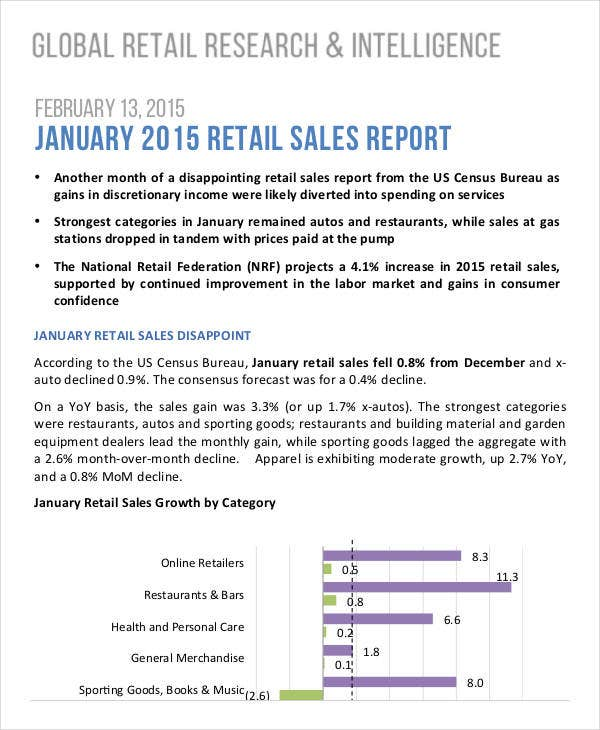monthly retail sales report template