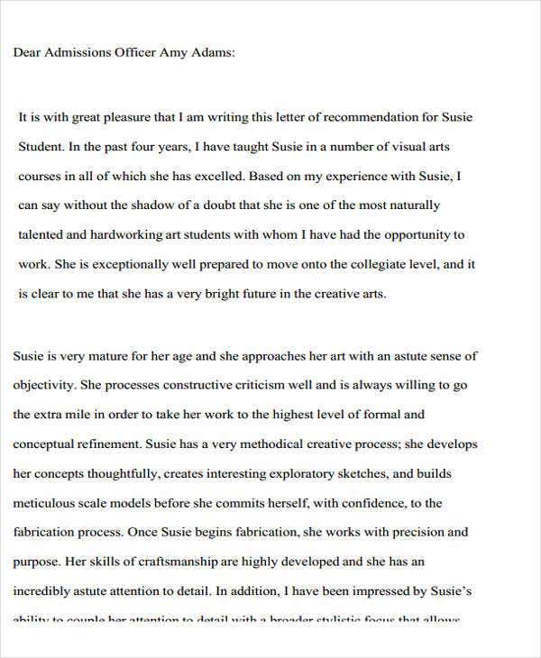 Letter Of Recommendation For High School Student Examples Of