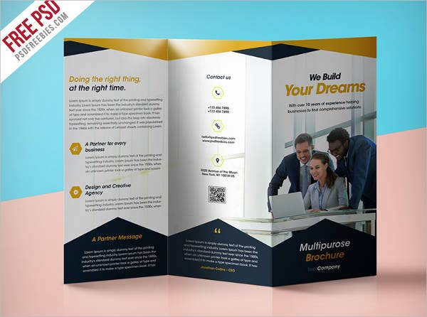 professional corporate tri fold brochure
