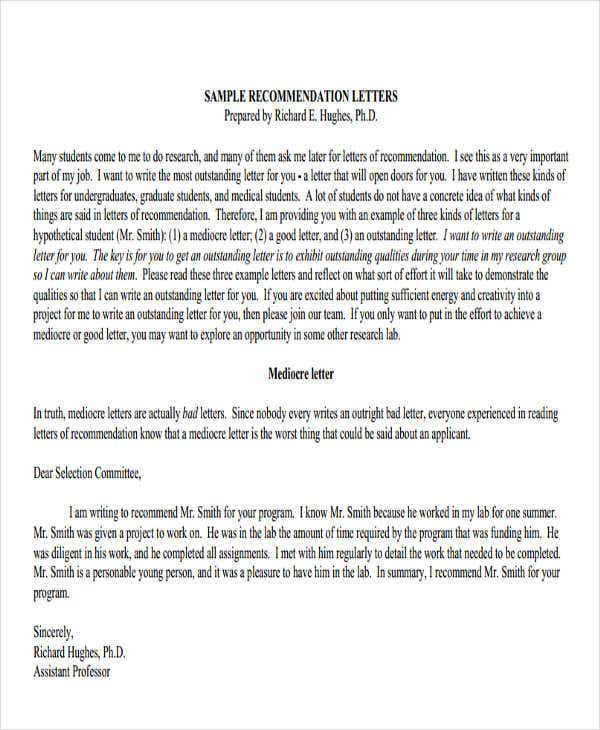 Work Performance Recommendation Letter