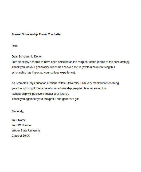 Formal Thank You Letter 10 Free Word PDF Documents Download – Scholarship Thank You Letters