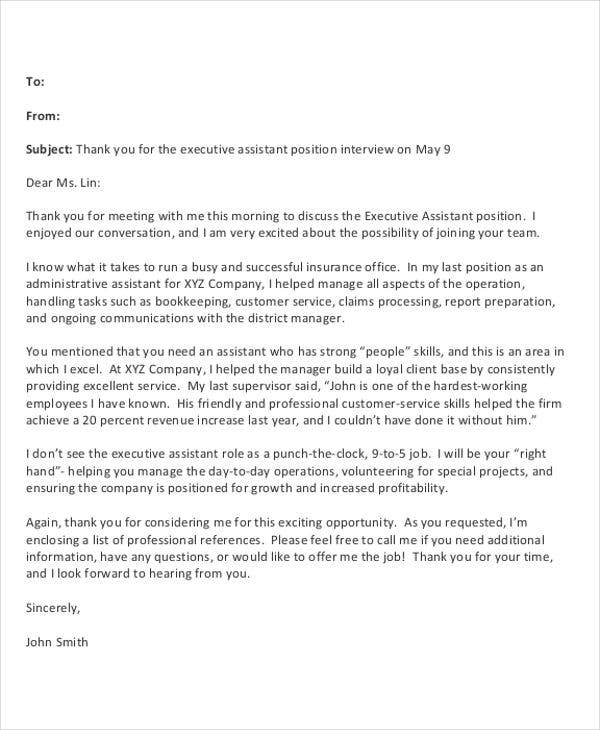 9 Post Interview Thank You Letter Template Free Sample Example