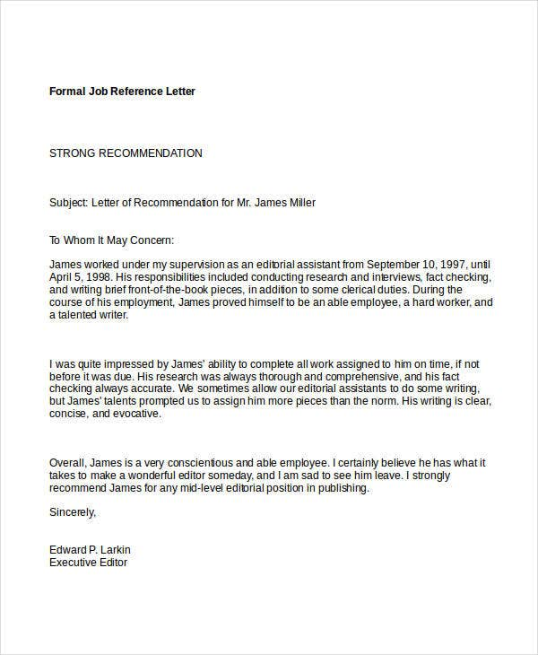 formal job reference letter