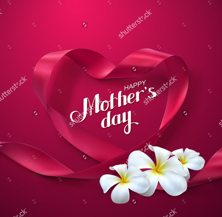 ribbon heart mothers day vector