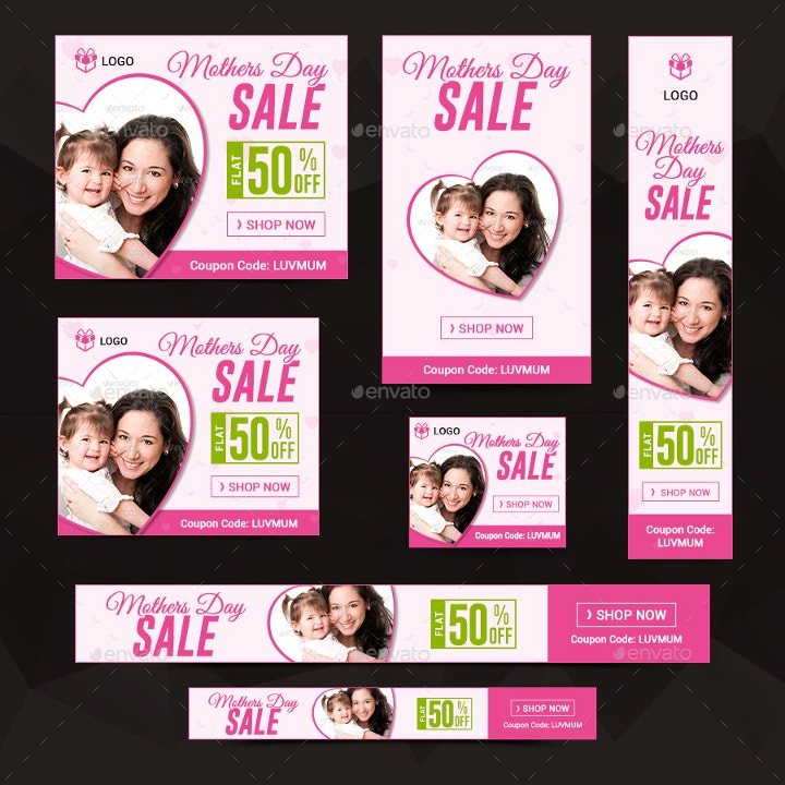 animated mothers day sales banners