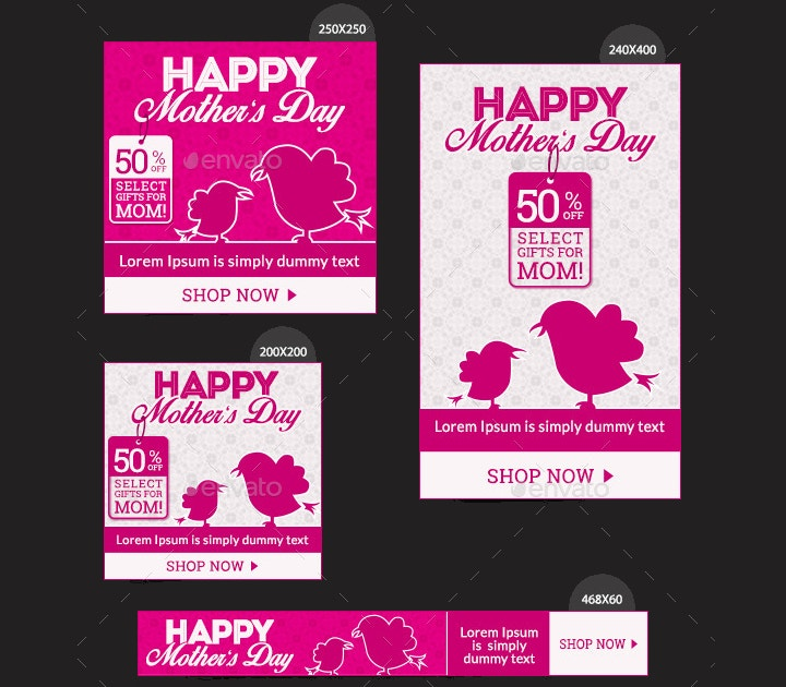 mothers day sales banners set