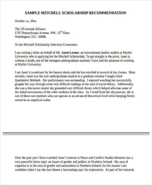 scholarship letter of recommendation