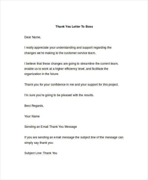 ThankYou Letter Templates To Boss  Free Sample Example Format