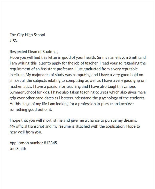 simple job application letter for teacher 90+ best free application letter templates take some cue from this simple job application letter/ cover sample science teacher application letter details.