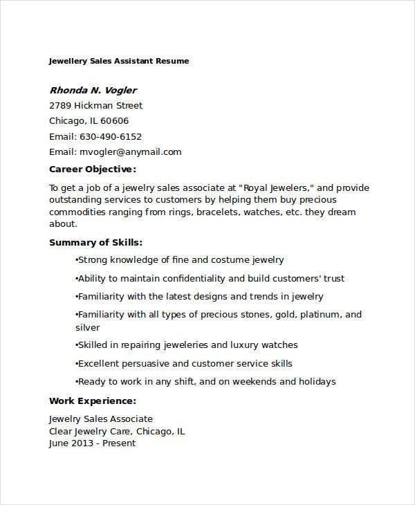 Jewelry Sales Resume Captivating 8 Sample Sales Assistant Resumes  Free Sample Example Format .