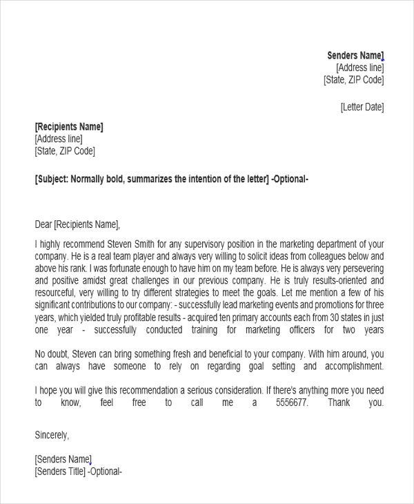 marketing job reference letter
