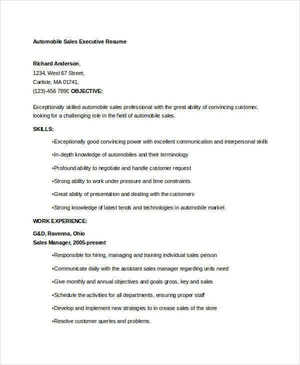 automobile sales executive resume