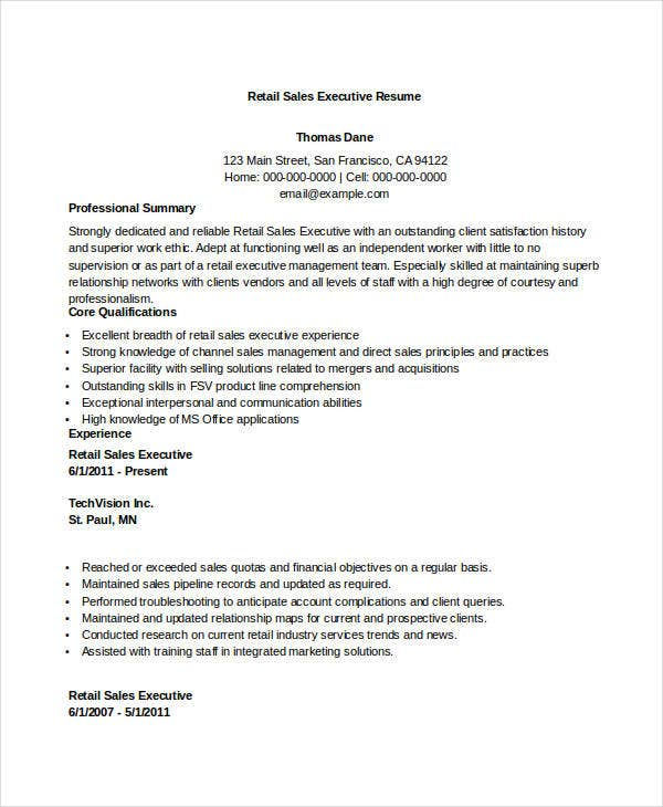 Sales Executive Resume Templates   Free Word Pdf Format