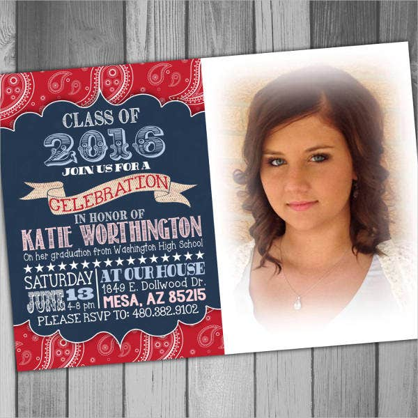 High School Graduation Photo Invitation