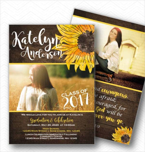 Rustic Graduation Photo Invitation