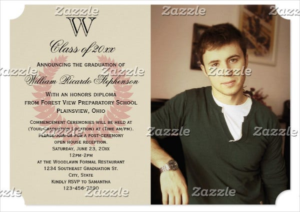 monogram graduation photo invitation