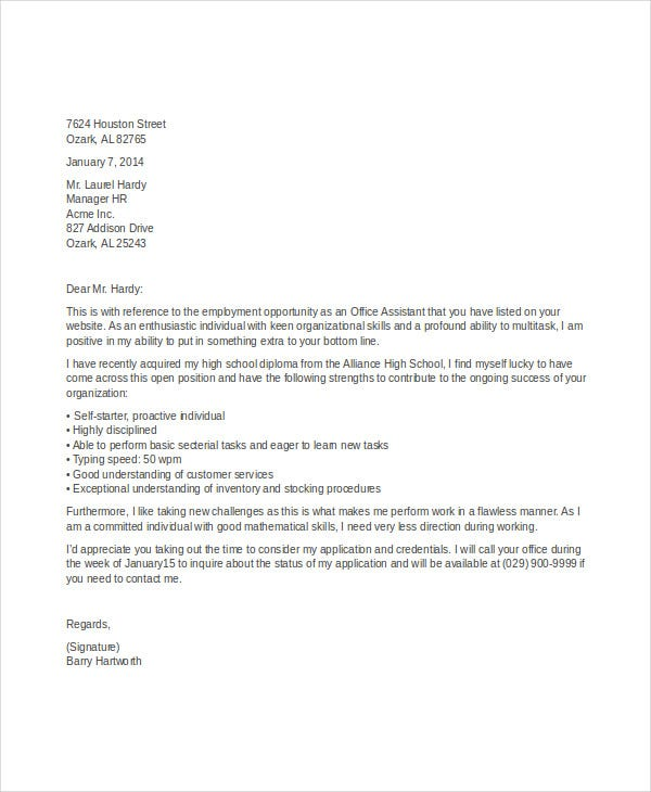 Job Application Letter Template in Word