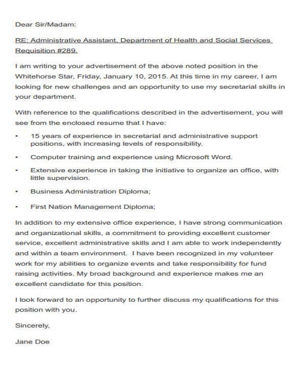 Cover Letter Email Administrative Assistant Krys Tk