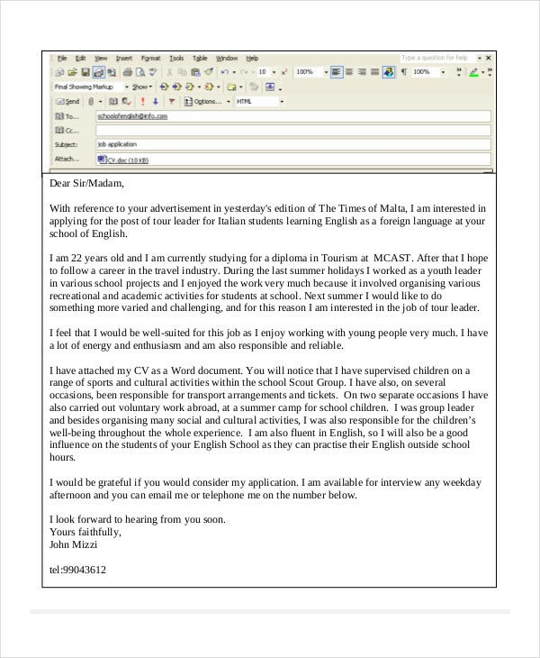 Job Application Letter Sample Download