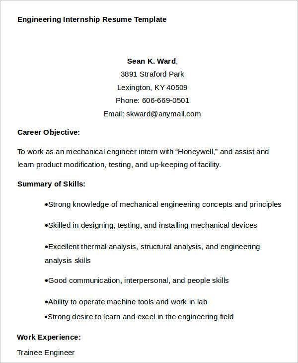 engineering internship resume sample