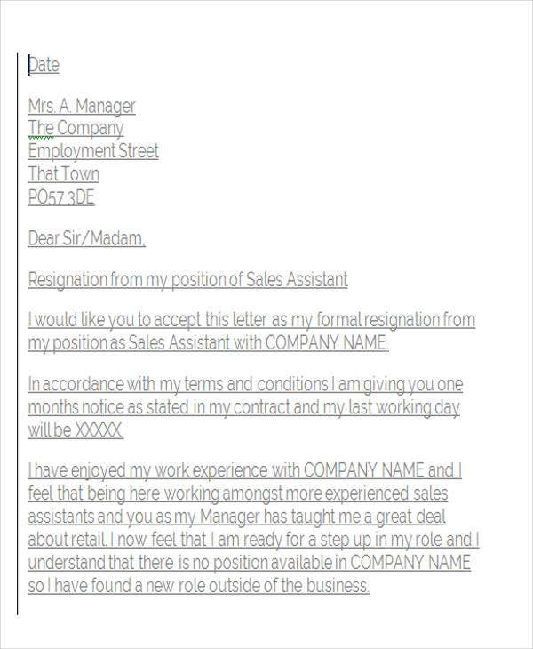 Retail Assistant Resignation Letter