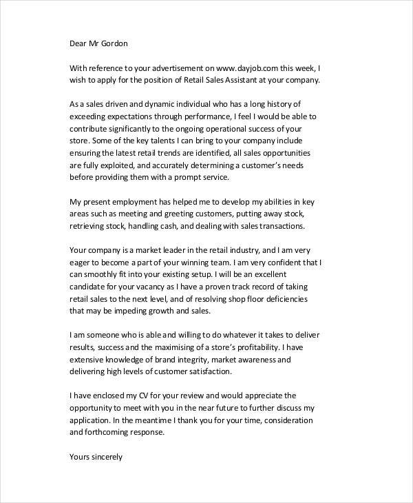 Retail-Sales-Job-Application-Letter Job Application Cover Letter Word Doc on for real or potential, for academic, template for senior, for practice management,