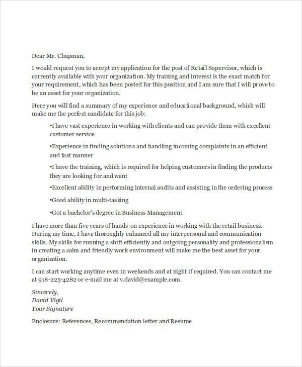 retail supervisor application letter